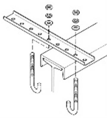 "B-100-BR4A-J: Straight Steel Bracket For Capped I Beam - 12 Holes 18"" with ""]"" Bolt Hardware"