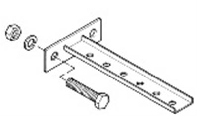 B-100-BRCT1: Steel T Bracket With Mounting Plate - 2 Holes 3.75""
